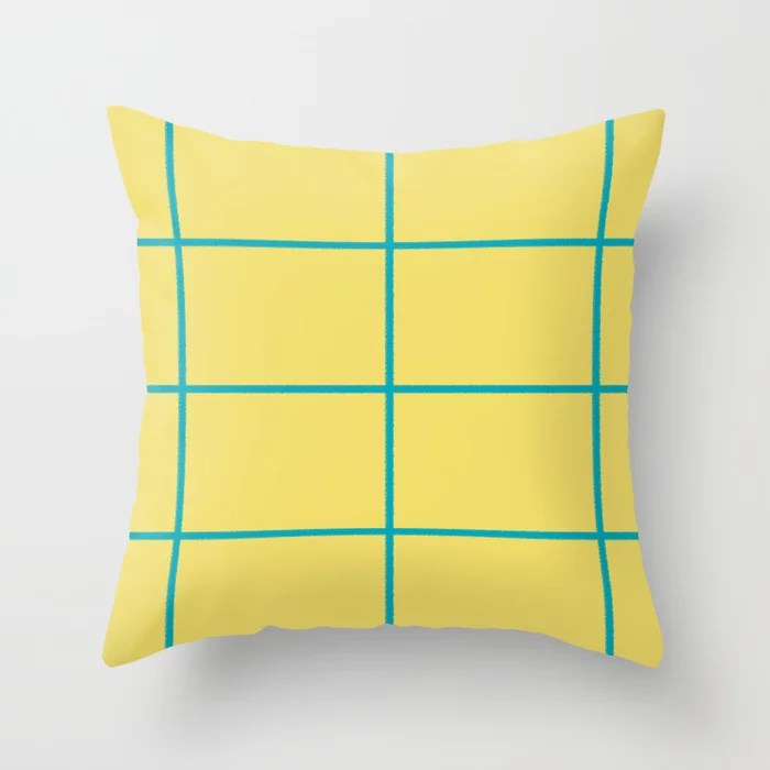 Blue-Green Yellow Sponge Paint Thin Check Pattern 2021 Color of the Year AI Aqua 098-59-30 Throw Pillow