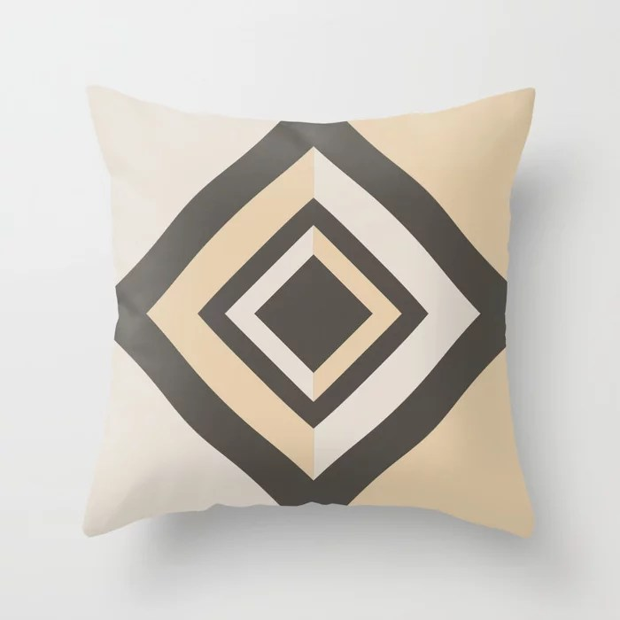 Brown Tan Cream Geometric Shape Diamond Throw Pillows Match and coordinate with Sherwin Williams Paints 2021 Color of the Year Urbane Bronze and Accent Shades
