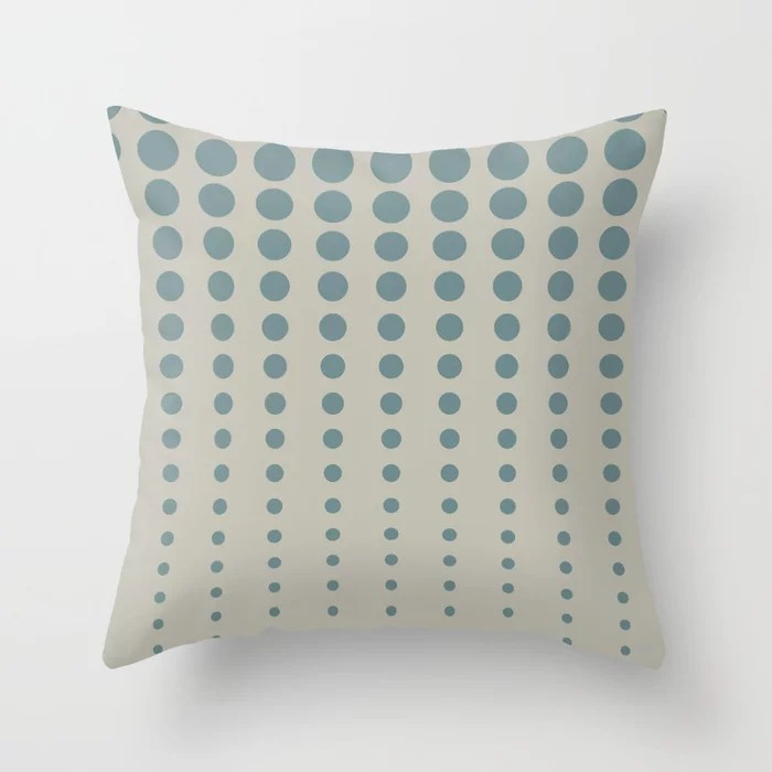 Blue-Green Tan Reduced Polka Dot Pattern V2 2021 Color of the Year Aegean Teal and Winterwood Throw Pillow