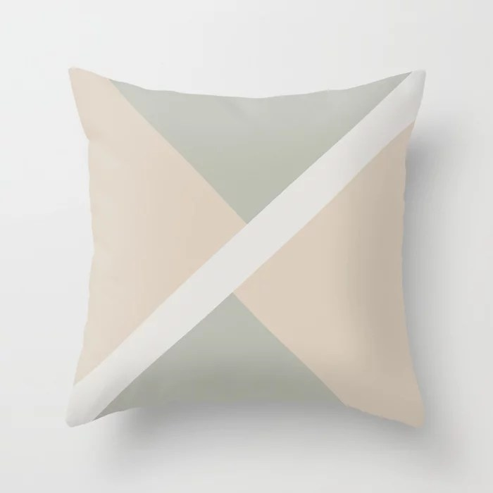 Beige Green Gray White Stripe Offset Shape Design: Hues were inspired by and match (pair / coordinate with) 2021 Color of the Year Uptown Ecru & Accent Shade Throw Pillow