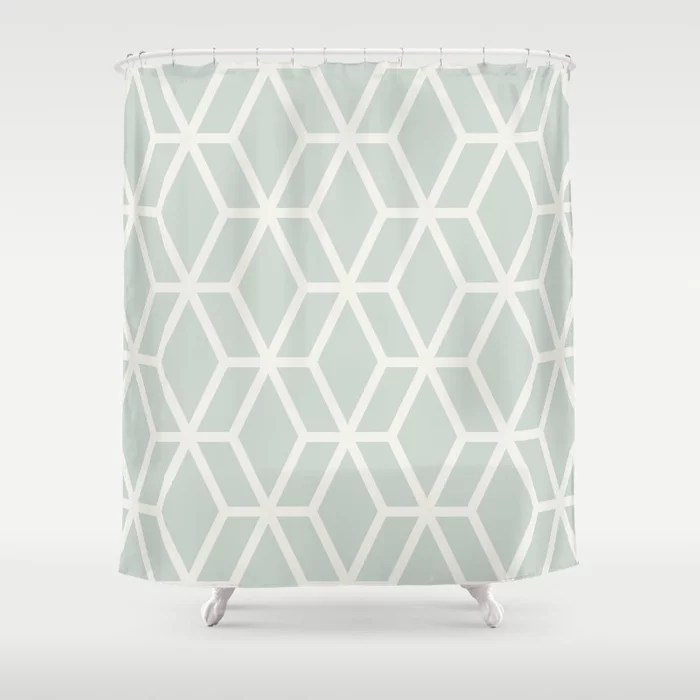Mint Green and Cream Tessellation Pattern 16 Behr 2022 Color of the Year Breezeway MQ3-21 Shower Curtain. 2022 color trend