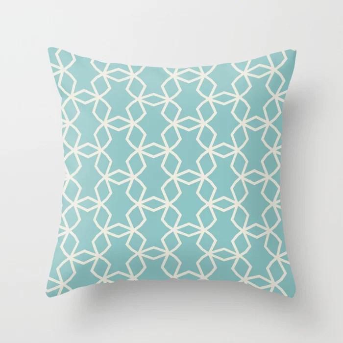 Aquamarine Cream Geometric Mosaic Pattern V2 2021 Color of the Year Aqua Fiesta and Horseradish Throw Pillow