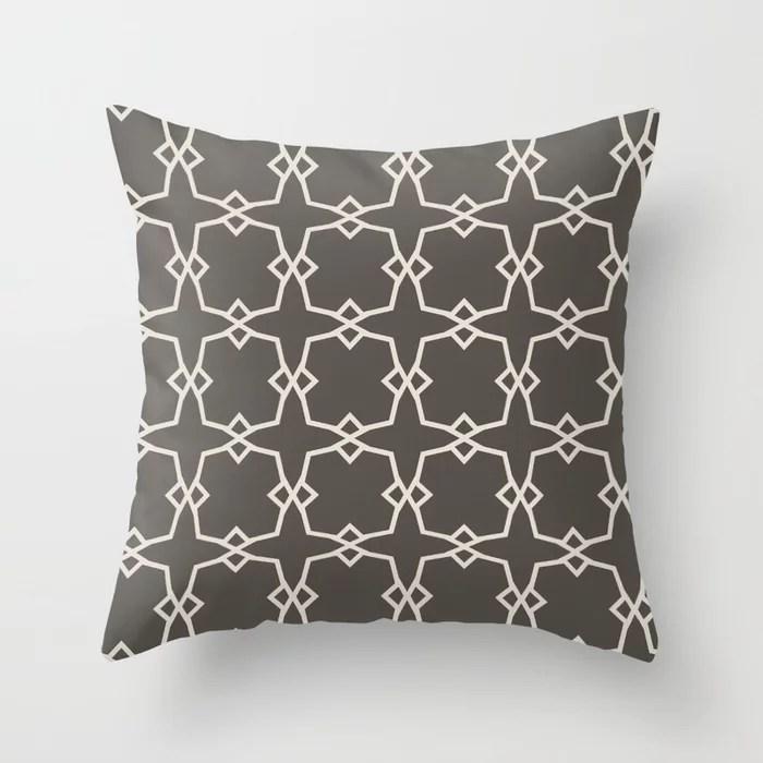 Dark Brown Cream Tessellation Line Pattern 30 2021 Color of the Year Urbane Bronze and Shoji White Throw Pillow