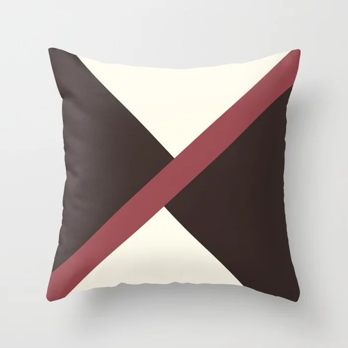 Red Brown Off-White Thin Angled Line Pattern 2021 Color of the Year Passionate and Accent Shades Throw Pillow