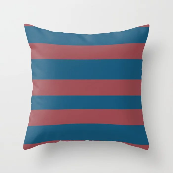 Red and Blue Wide Horizontal Stripe Pattern 2021 Color of the Year Passionate and Long Horizon Throw Pillow