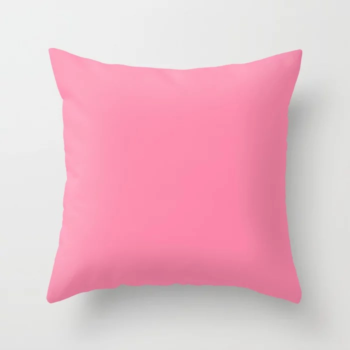 From The Crayon Box – Inspired by Tickle Me Pink - Bright Pink Solid Color Throw Pillow
