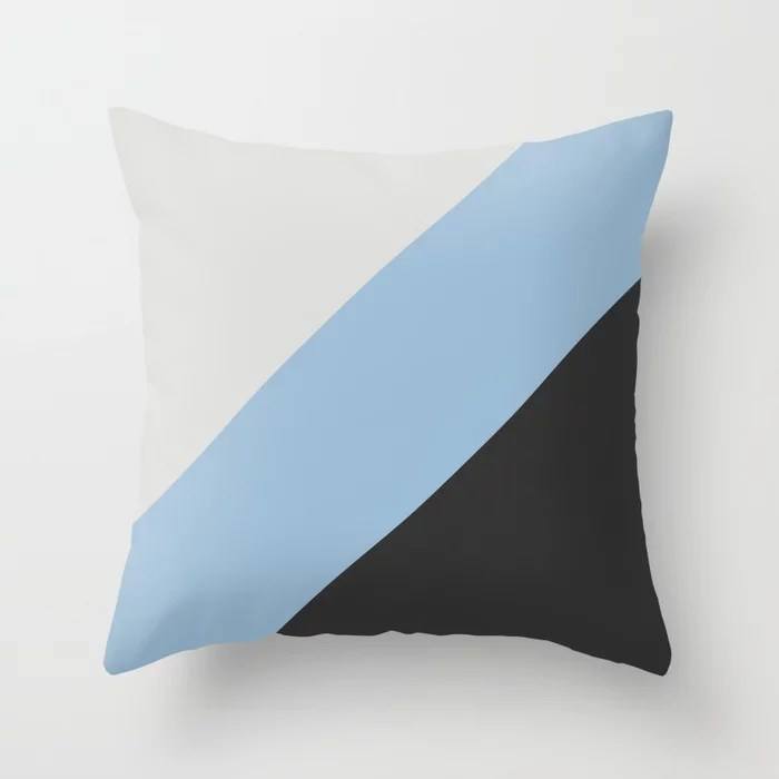 Pastel Blue Grey and Black Diagonal Stripe Pattern Throw Pillows inspired by and pairs to (matches / coordinates with) Dutch Boy 2021 Color of the Year Earth's Harmony & Accents