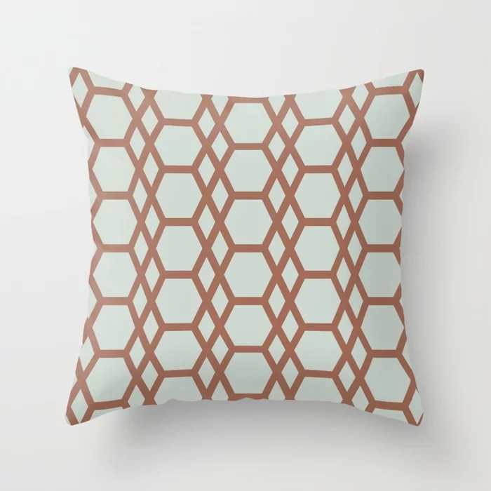 Mint Green and Terracotta Tessellation Pattern 13 Behr 2022 Color of the Year Breezeway MQ3-21 Throw Pillow. 2022 color scheme, trending interior design hue.