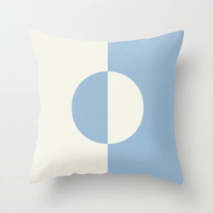 Pastel Blue and Off White Minimal Circle Design Throw Pillows inspired by and pairs to (matches / coordinates with) Dutch Boy 2021 Color of the Year Earth's Harmony and Brightened Cream