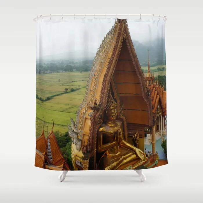 Rural Buddhist Temple In Thailand Shower Curtain