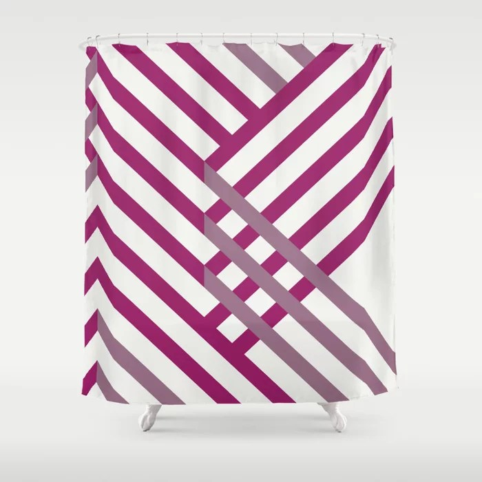 Magenta, Gray and White Diagonal Stripe Pattern - Colour of the Year 2022 Orchid Flower 150-38-31 Shower Curtain - 2022 colour trends interior decorating fuchsia - purple - pink