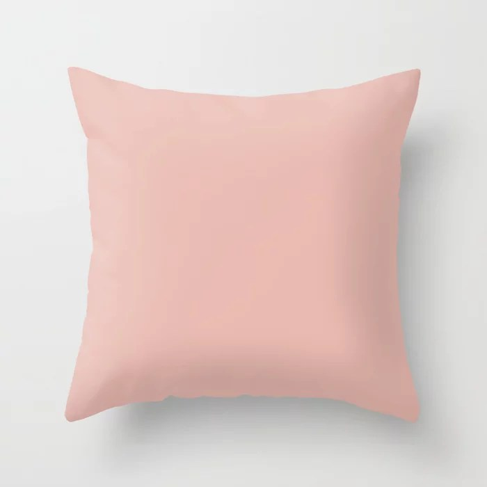 Resounding Pastels Solid Color Accent Shade Matches Sherwin Williams Rachel Pink SW 0026 Throw Pillow