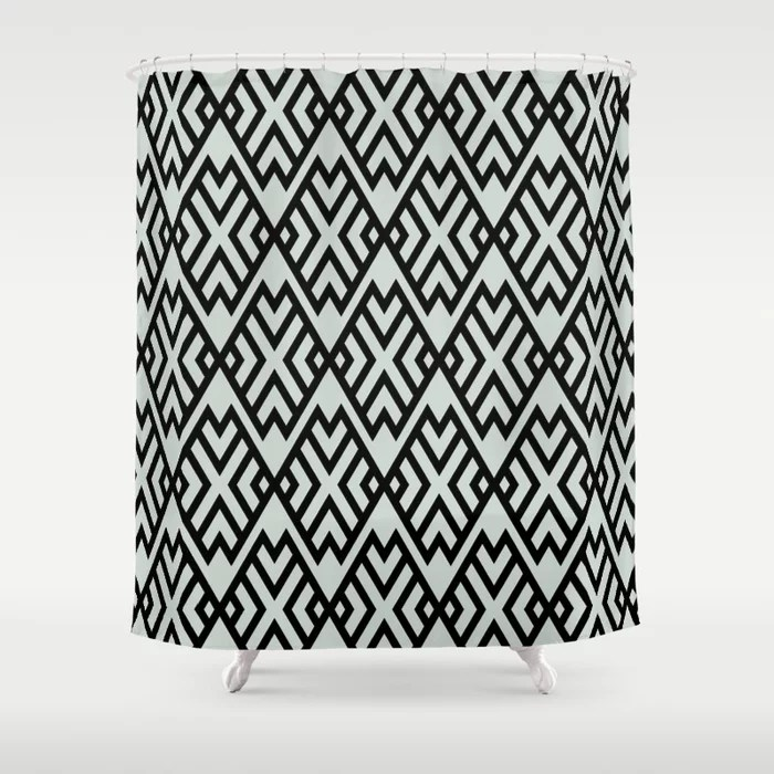 Pastel Green and Black Shape Tile Pattern Pairs Behr 2022 Color of the Year Breezeway MQ3-21 Shower Curtain. 2022 color trend