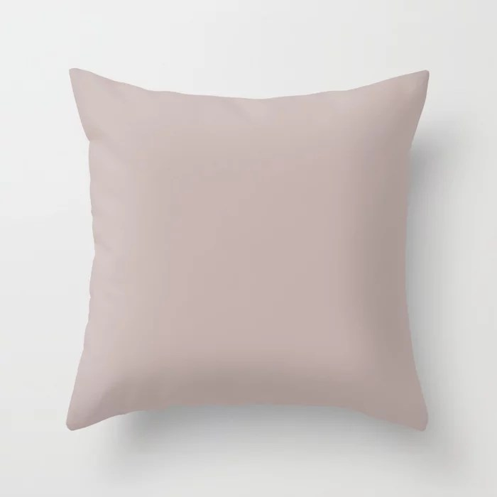 Light Pastel Pink Beige Solid Color Pairs To Sherwin Williams Artistic Taupe SW 6030 Throw Pillow