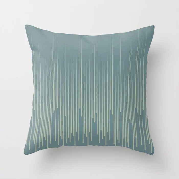 Blue-Green Frequency Line Art Pattern V2 2021 Color of the Year Aegean Teal and Salisbury Green Throw Pillow