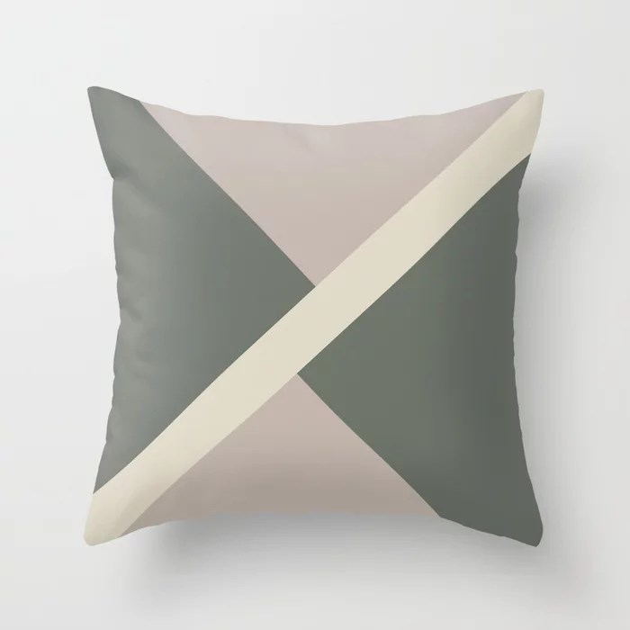 Green Beige Tan Stripe Offset Pattern 2021 Color of the Year Contemplative and Accent Shades Throw Pillow