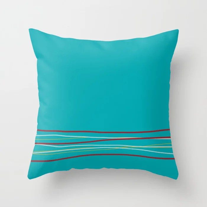 Multi Colored Scribble Line Design Bottom V5 Rustoleum 2021 Color of the Year Satin Paprika & Accent Throw Pillow