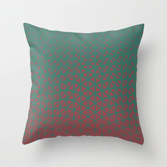 Red and Green Geometric Triangle Wave Pattern 2021 Color of the Year Passionate & Cloverfields Throw Pillow