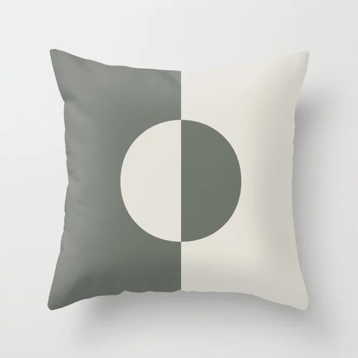Moody Green Creamy White Minimal Circle Design 2021 Color of the Year Contemplative and Whitewisp Throw Pillow