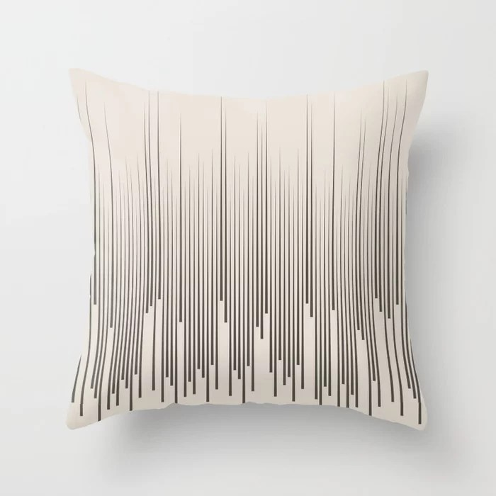 Brown and Cream Minimal Frequency Line Art Pattern 2021 Color of the Year Urbane Bronze Shoji White Throw Pillow