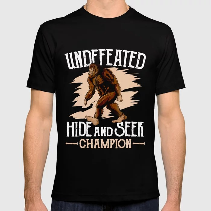 Funny Undefeated Hide And Seek Champion Bigfoot Tshirt Mens T Shirt By Redbirdd206