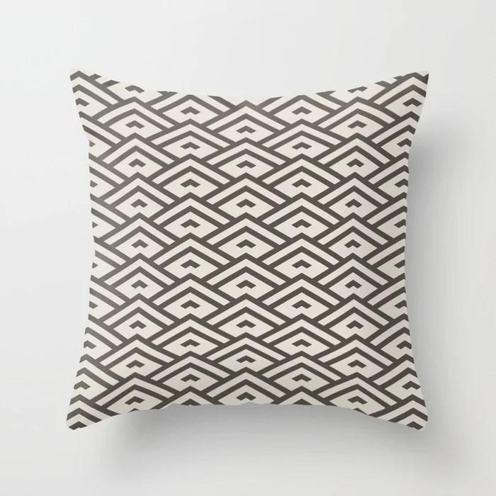 Dark Brown Cream Tessellation Line Pattern 31 2021 Color of the Year Urbane Bronze and Shoji White Throw Pillow
