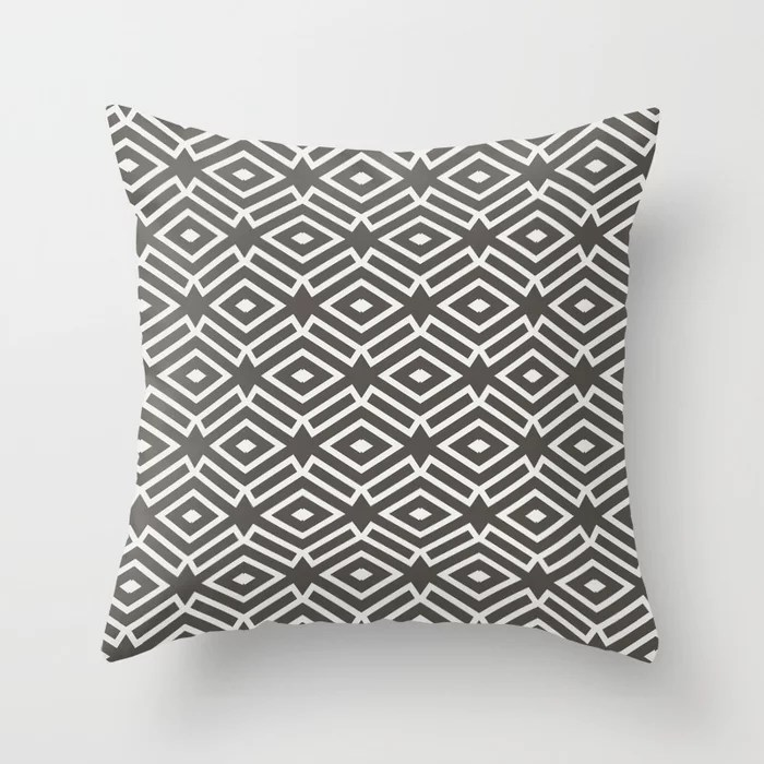 Dark Brown Off-White Ornamental Shape Pattern 7 2021 Color of the Year Urbane Bronze & Extra White Throw Pillow
