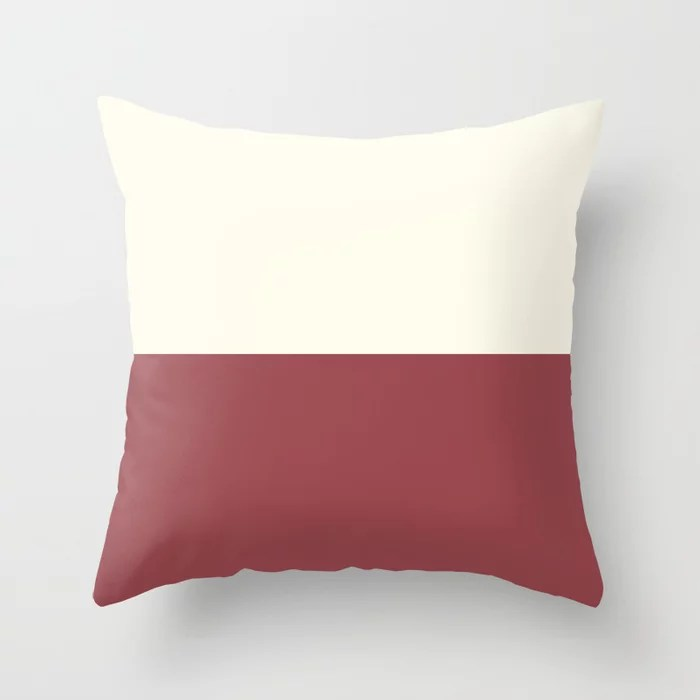 Red and Off-White Minimal Solid Color Line Pattern 2021 Color of the Year Passionate Bohemian Lace Throw Pillow