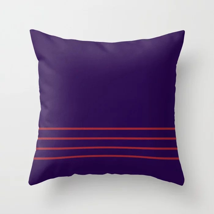 Purple and Red Thin 4 Stripe Pattern 2021 Color of the Year Satin Paprika and Purple Throw Pillow