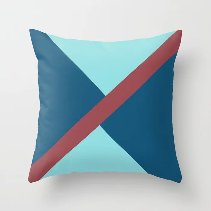 Red and Blue Minimal Thin Angled Line Pattern 2021 Color of the Year Passionate and Accent Shades Throw Pillow