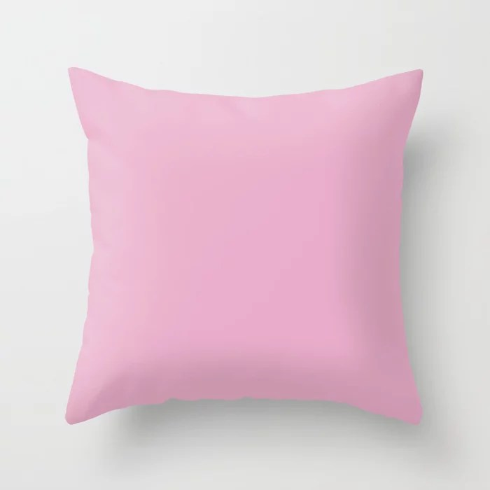 Solid Color Pastel Pink Pairs to Pantone 14-2710 Lilac Sachet Throw Pillow