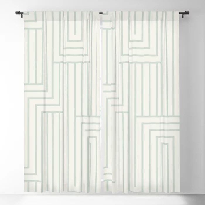 Pastel Green and Cream Art Deco Pattern 2 Pairs Behr 2022 Color of the Year Breezeway MQ3-21 Blackout Curtain. Decorating colors for 2022