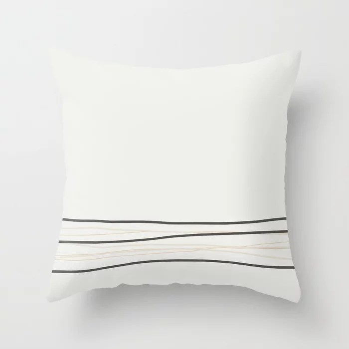 Brown Tan Cream Off-White Scribble Line Design 2021 Color of the Year Urbane Bronze and Accent Shade Throw Pillow