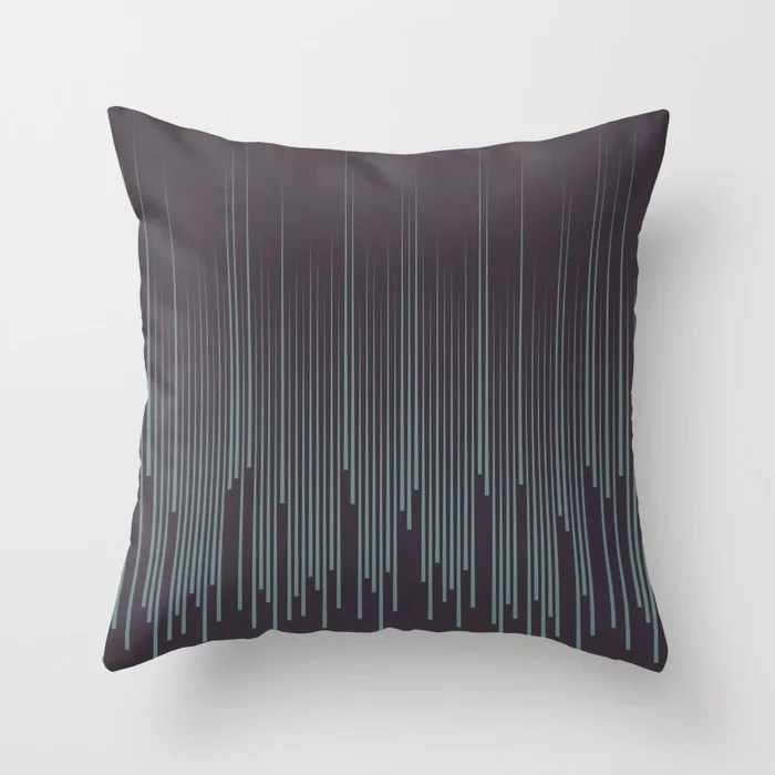 Blue-Green Purple Frequency Line Art Pattern 2021 Color of the Year Aegean Teal and Tulsa Twilight Throw Pillow
