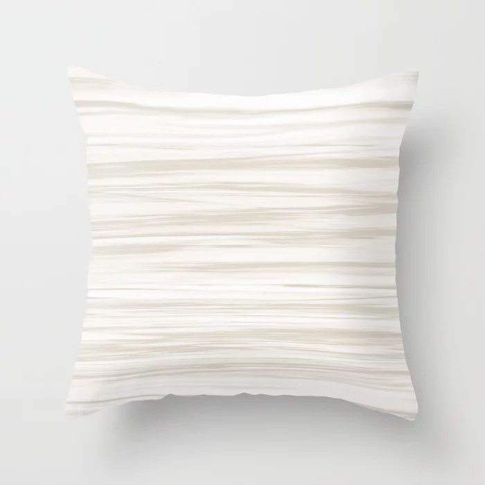 Cream White Soft Focus Motion Stripes Watercolor 2021 Color of the Year Accent Shoji White Throw Pillow