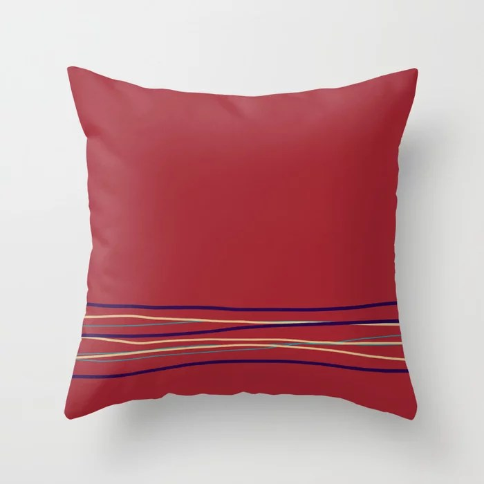 Multi Colored Scribble Line Design Bottom Rustoleum 2021 Color of the Year Satin Paprika & Accents Throw Pillow