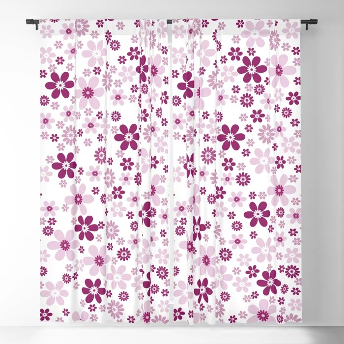 Magenta and White Simple Floral Flower Pattern - Colour of the Year 2022 Orchid Flower 150-38-31 Blackout Curtain - 2022 color trends interior design