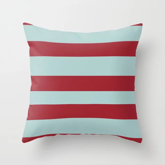 Red and Pastel Blue Wide Stripe Pattern 2021 Color of the Year Satin Paprika and Serenity Blue Throw Pillow
