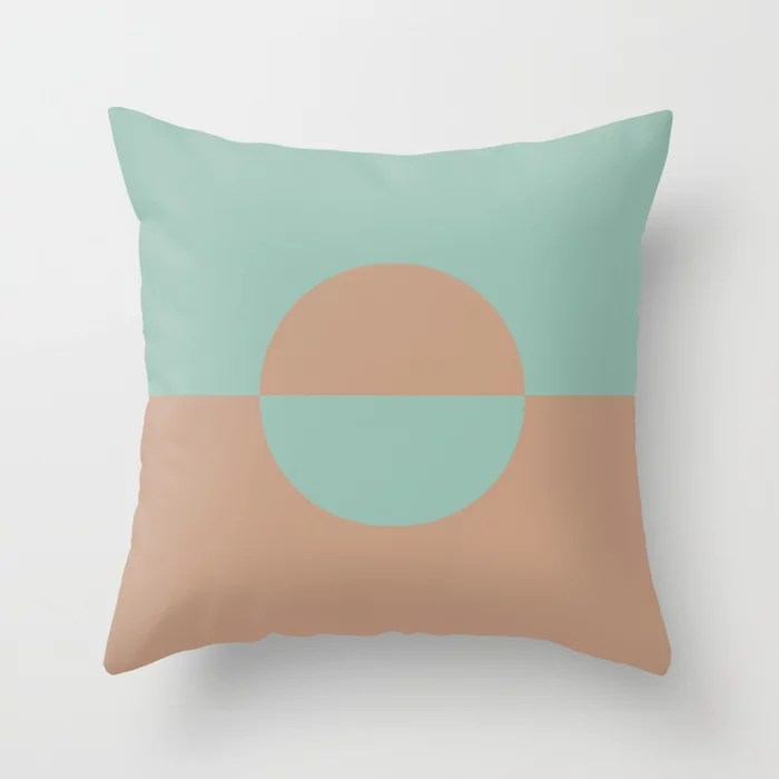 Sand Storm Beige Pastel Mint Green Circle Design 2 2021 Color of the Year Canyon Dusk Spring Stream Throw Pillow