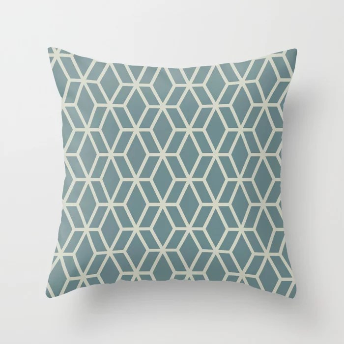 Soft Aqua Blue Beige Tessellation Line Pattern 16 2021 Color of the Year Aegean Teal Sweet Spring Throw Pillow