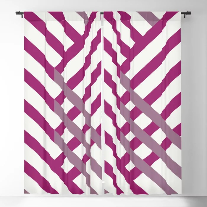 Magenta, Gray and White Diagonal Stripe Pattern - Colour of the Year 2022 Orchid Flower 150-38-31 Blackout Curtain - 2022 color trends interior design