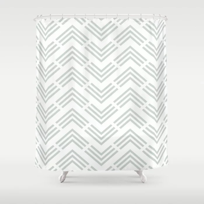 Pastel Green and White Chevron Rhombus Pattern Behr 2022 Color of the Year Breezeway MQ3-21 Shower Curtain. 2022 color trend
