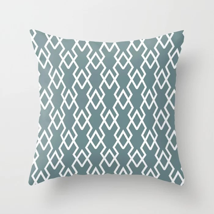 Soft Aqua Blue White Tessellation Line Pattern 19 2021 Color of the Year Aegean Teal Throw Pillow