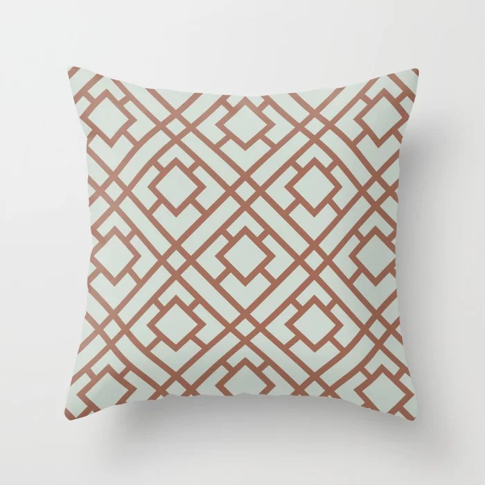 Mint Green and Terracotta Tessellation Pattern 24 Behr 2022 Color of the Year Breezeway MQ3-21 Throw Pillow. 2022 color scheme, trending interior design hue.