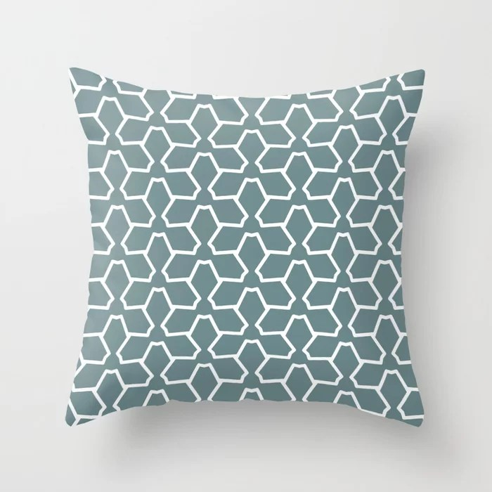 Blue-Green White Line Pattern 12 Abstract Flower 2 2021 Color of the Year Aegean Teal and Pure White Throw Pillow