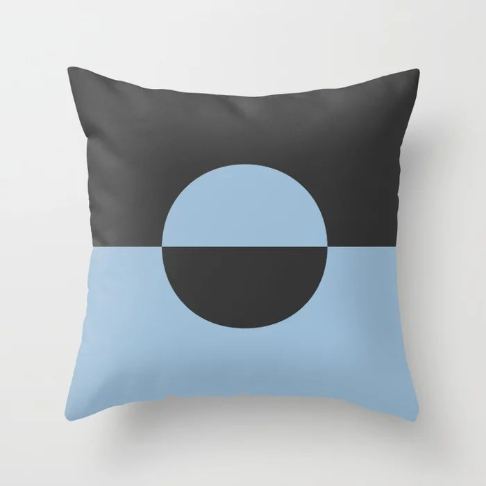 Pastel Blue and Black Minimal Circle Design 2 Throw Pillows inspired by and pairs to (matches / coordinates with) Dutch Boy 2021 Color of the Year Earth's Harmony and True Black