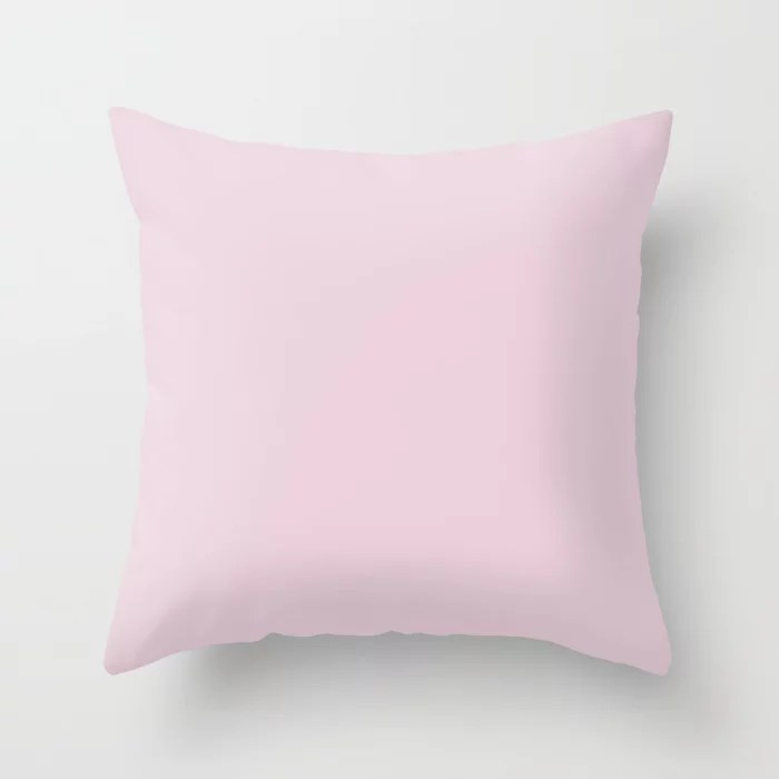 Pretty in Pastel Pink Solid Color - All Colour - Single Shade Pairs w/ Teaberry SW 6561 Throw Pillow
