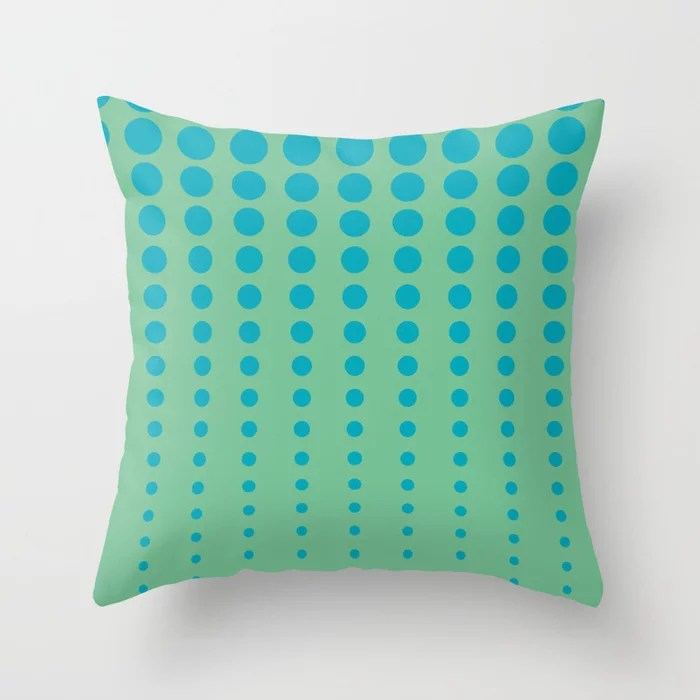 Aqua Blue and Green Reduced Polka Dot Pattern 2021 Color of the Year AI Aqua and Quiet Wave Throw Pillow