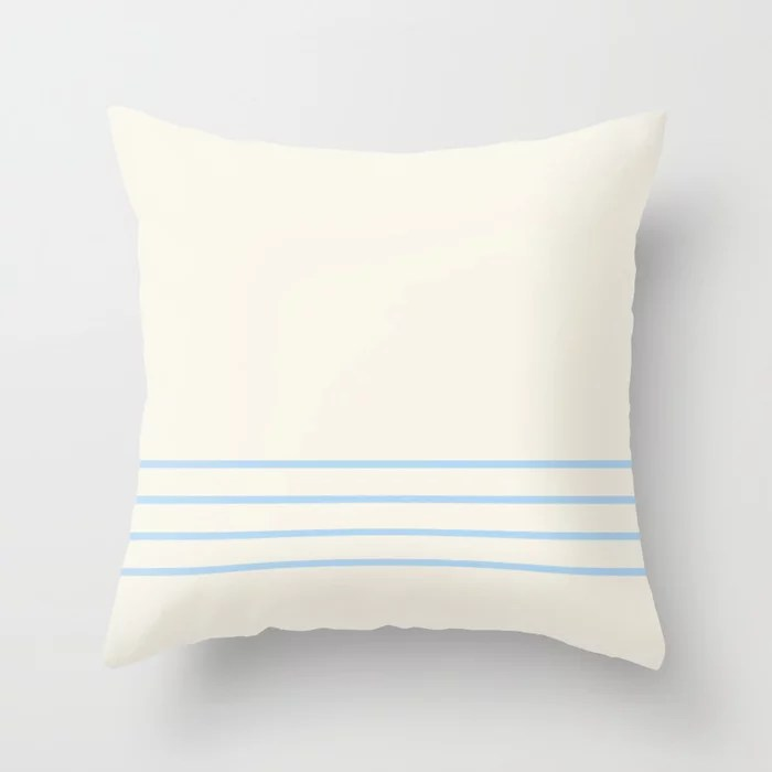 Baby Blue Off-White Horizontal 4 Stripe Pattern 2021 Color of the Year Wild Blue Yonder Swiss Coffee Throw Pillow