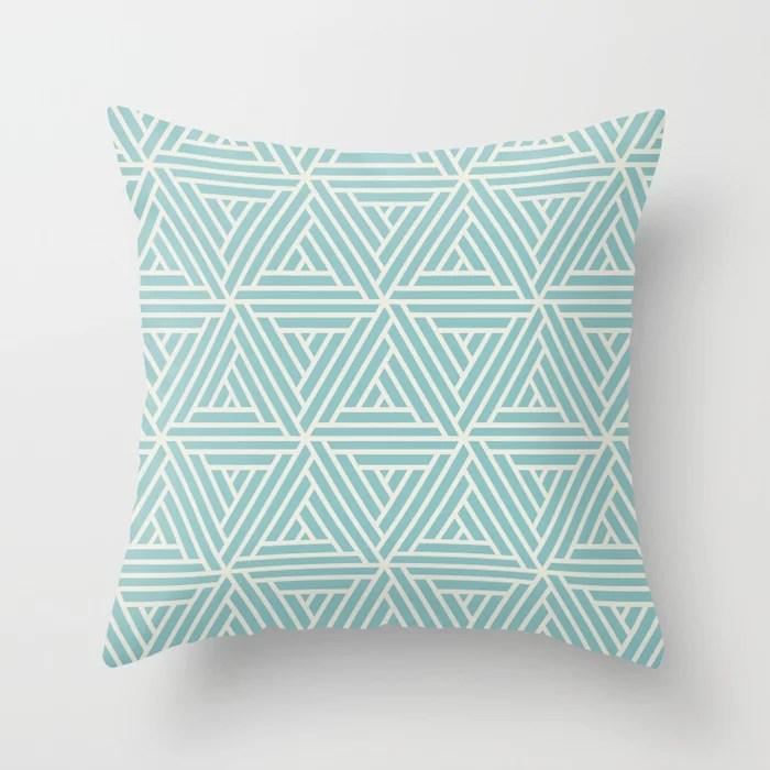 Aquamarine Cream Geometric Mosaic Pattern 2 V2 Pairs 2021 Color of the Year Aqua Fiesta Horseradish Throw Pillow